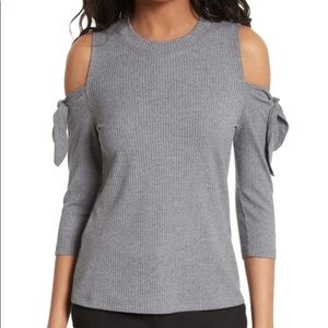 Rebecca Taylor Cold Shoulder Ribbed Jersey Top